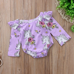 Purple unicorn frilly bodysuit (0-18 months)