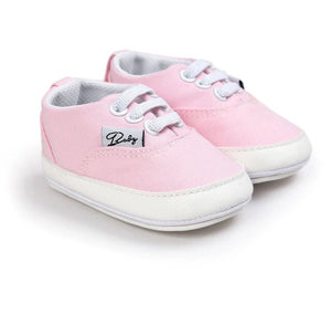 Pink lace detail slip on baby shoes