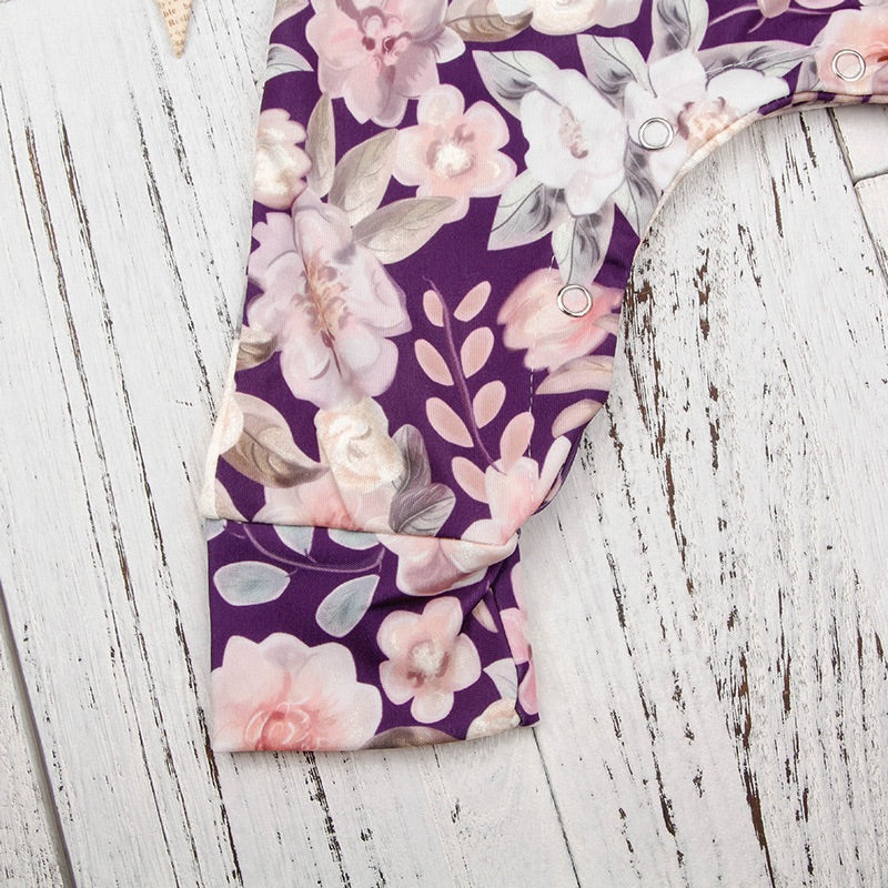 Purple floral jumpsuit (6-24 months)