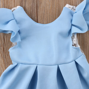 Blue lace backless dress (6 months-2 years)