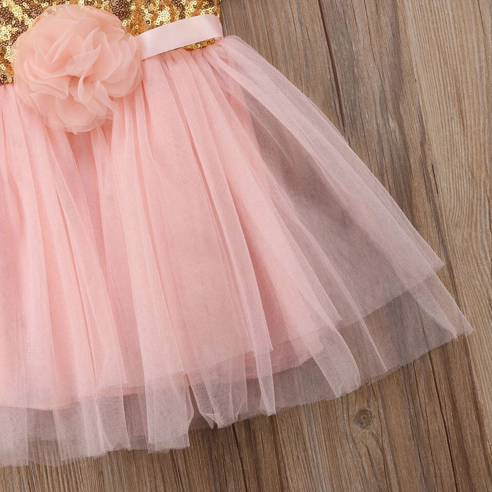 Pink flower tulle tutu dress (3 months- 2 years)