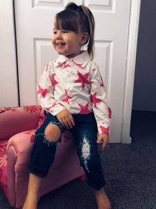 Pink star shirt and ripped jeans set (12 months-6 years)