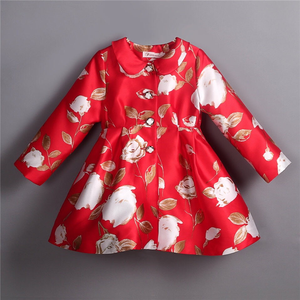 Autumn red floral coat (3-7 years)