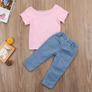 Cute printed top and jeans set (18 months- 5 years)