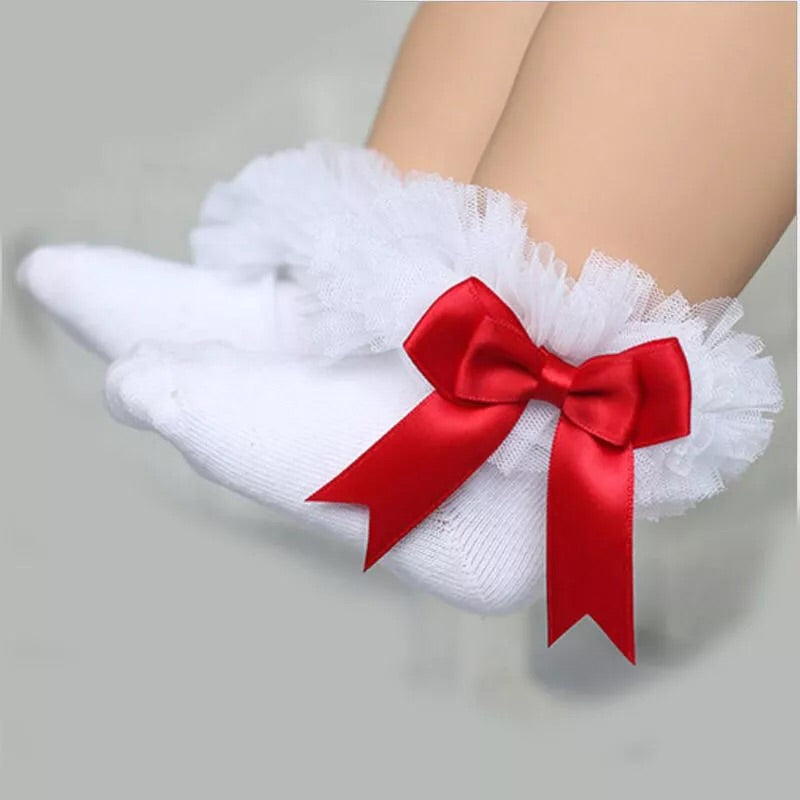 White and red  ruffle ankle socks (0-6 years)