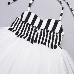 Black and white pinstripe tulle dress (12 months- 7 years)