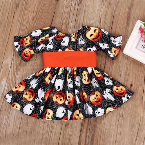 Pumpkin and ghost orange bow  dress ( 12 months - 5 years)