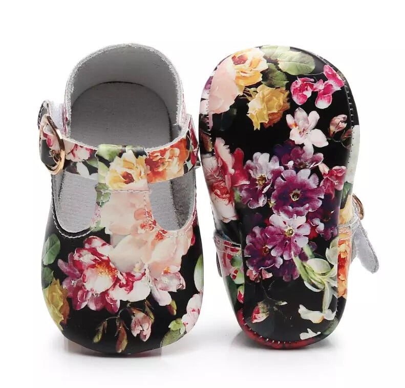 Black Floral Shoes (0-18 months)