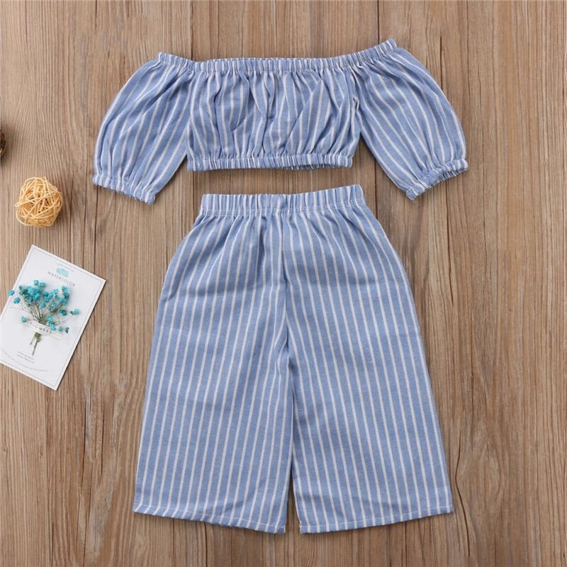 Blue pinstripe crop top and trousers (12 months- 5 years)
