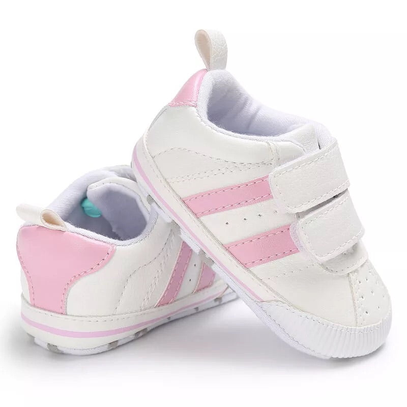 Pink stripe baby shoes