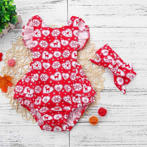 Christmas multi print ruffle romper  and headband (6-24 months)
