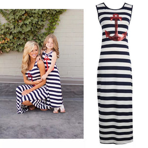 Mother and daughter stripe maxi dress set