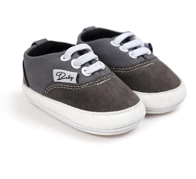 Dark grey lace detail slip on baby shoes (0-18 months)