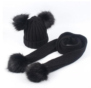 Black faux fur pom pom hat and scarf (1-6 years)