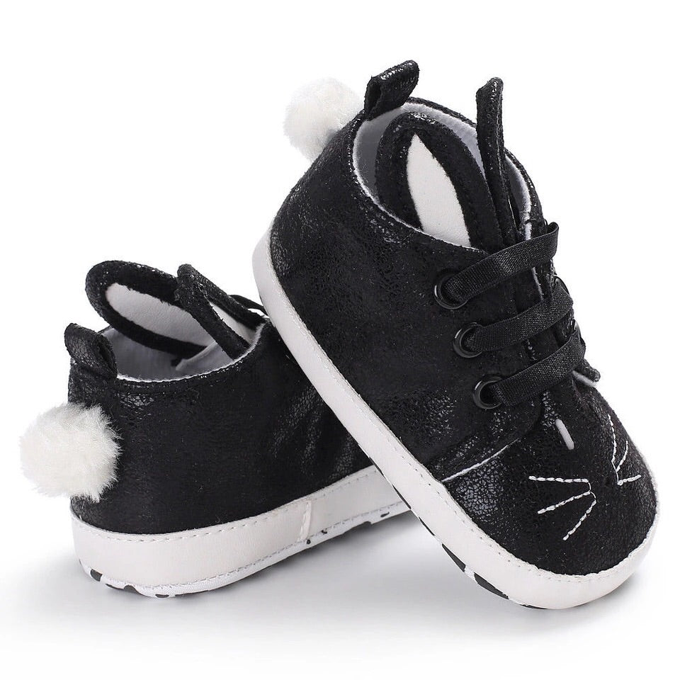 Black bunny shoes (0-18 months)