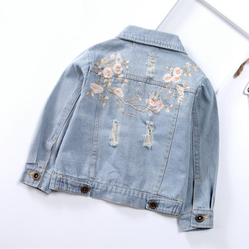 Floral embroidered denim jacket (3-7 years)
