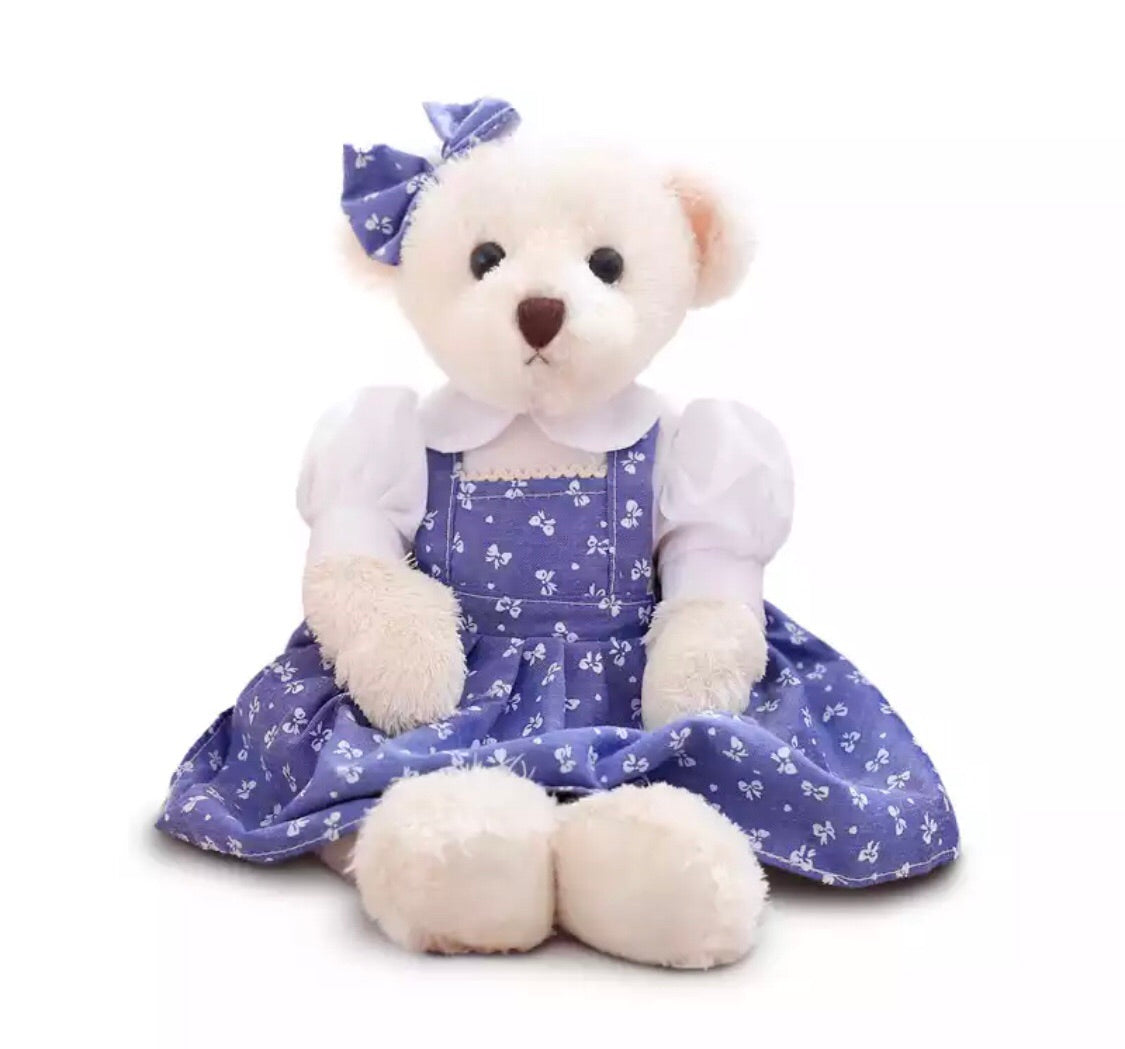 Blue bow print teddy