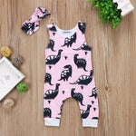 Pink dinosaur jumpsuit and matching headband 0-12 months