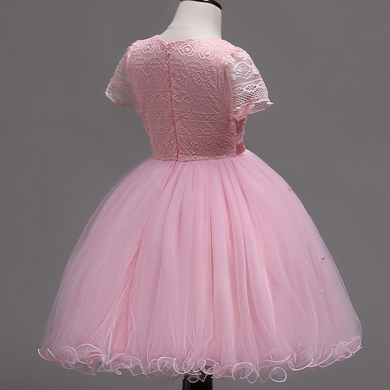 Pink lace and pearl dress (3-7 years)