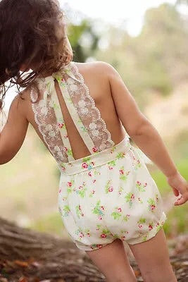 Cream ditsy floral lace romper (2-6 years)