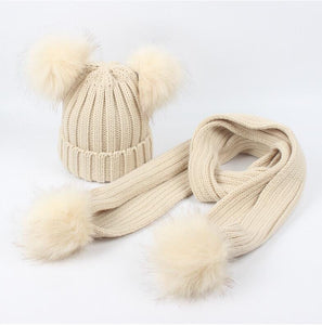 Beige faux fur pom pom hat and scarf (1-6 years)