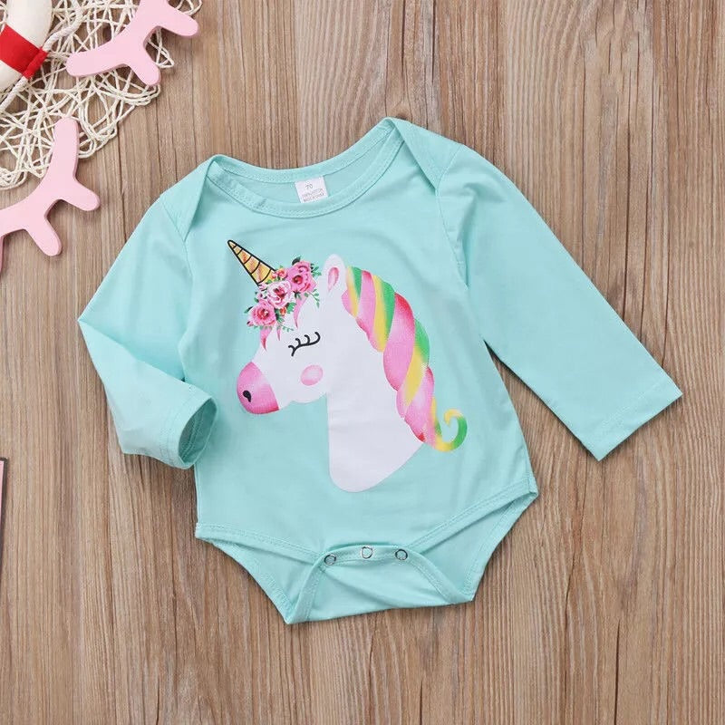 Blue long sleeve unicorn bodysuit (3-18 months)
