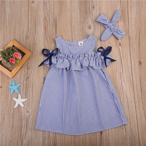 Blue pinstripe cold shoulder dress and headband (2-6 years)