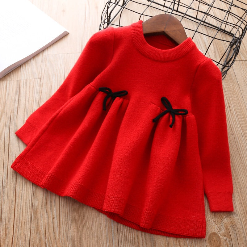 Red knitted long sleeve dress ( 12 months- 5 years )