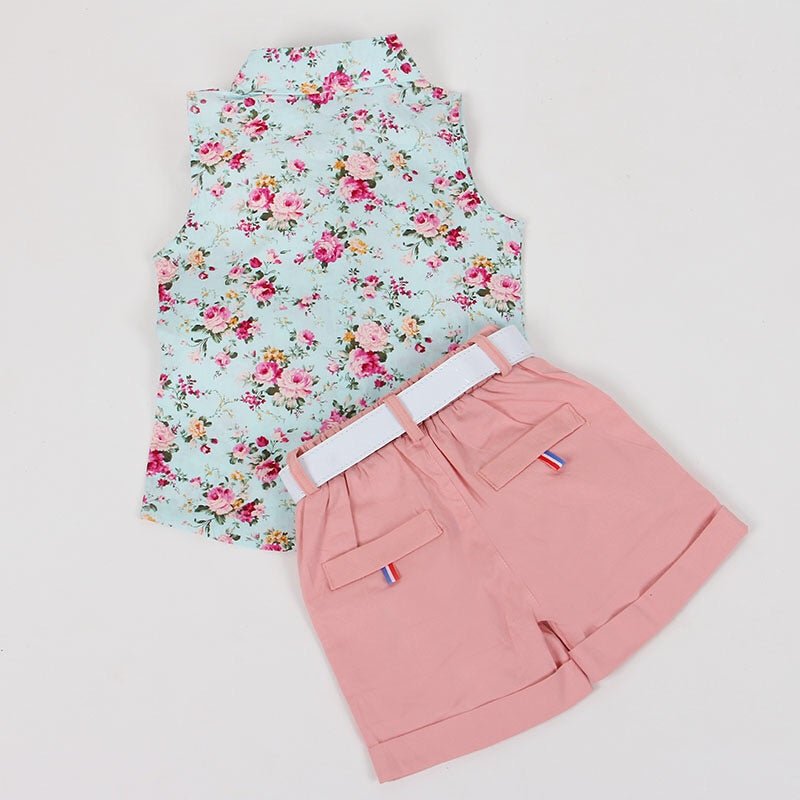 Pink and blue floral set (3-7 years)