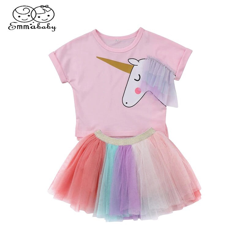 Unicorn T Shirt and TuTu Skirt