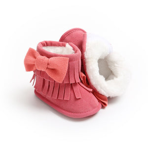Bow fringed soft lined boots (0-18 months)