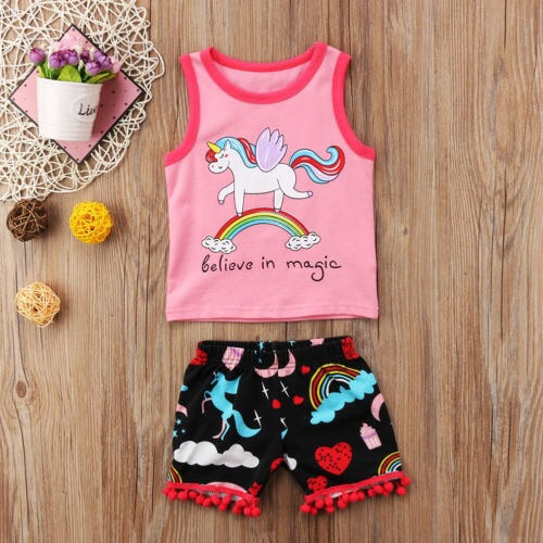 Believe in magic top and shorts set (6 months- 3 years)