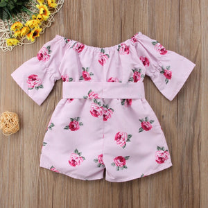 Pink pinstripe floral playsuit (12 months- 5 years)
