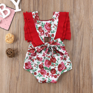 Red floral tie back romper