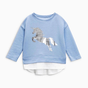 Blue unicorn jumper (24 months - 7 years)
