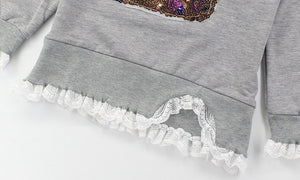 Sequin rabbit lace trim jumper (5-7 years)