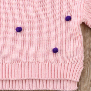 Pink and purple knitted Pom Pom jumper (3-18 months)