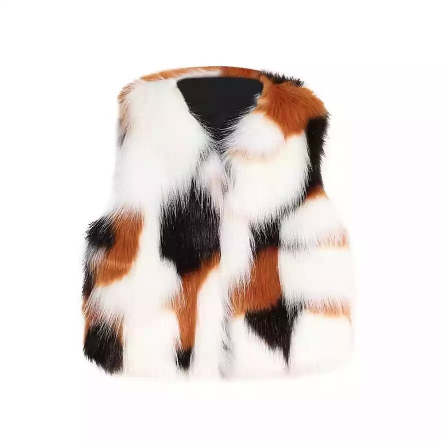 Multi faux fur gilet (3-7 years)