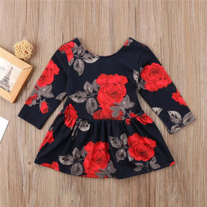 Rose print long sleeve dress