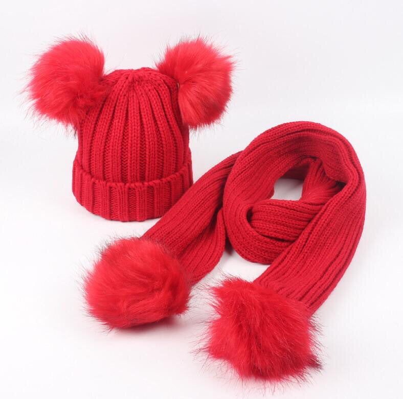 Red faux fur pom pom hat and scarf (1-6 years)