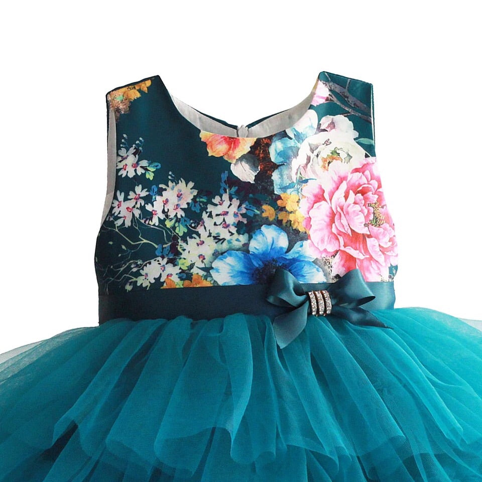 Teal layered floral dress (2-7 years)