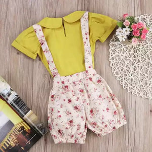 Yellow ditsy floral 2 piece set 2-6 years