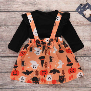 Pumpkin print pinafore dress with black jumper (18 months - 4 years)
