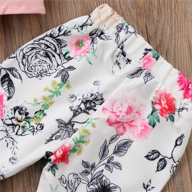 Floral bell bottom trousers and crop top (12 months- 5 years)