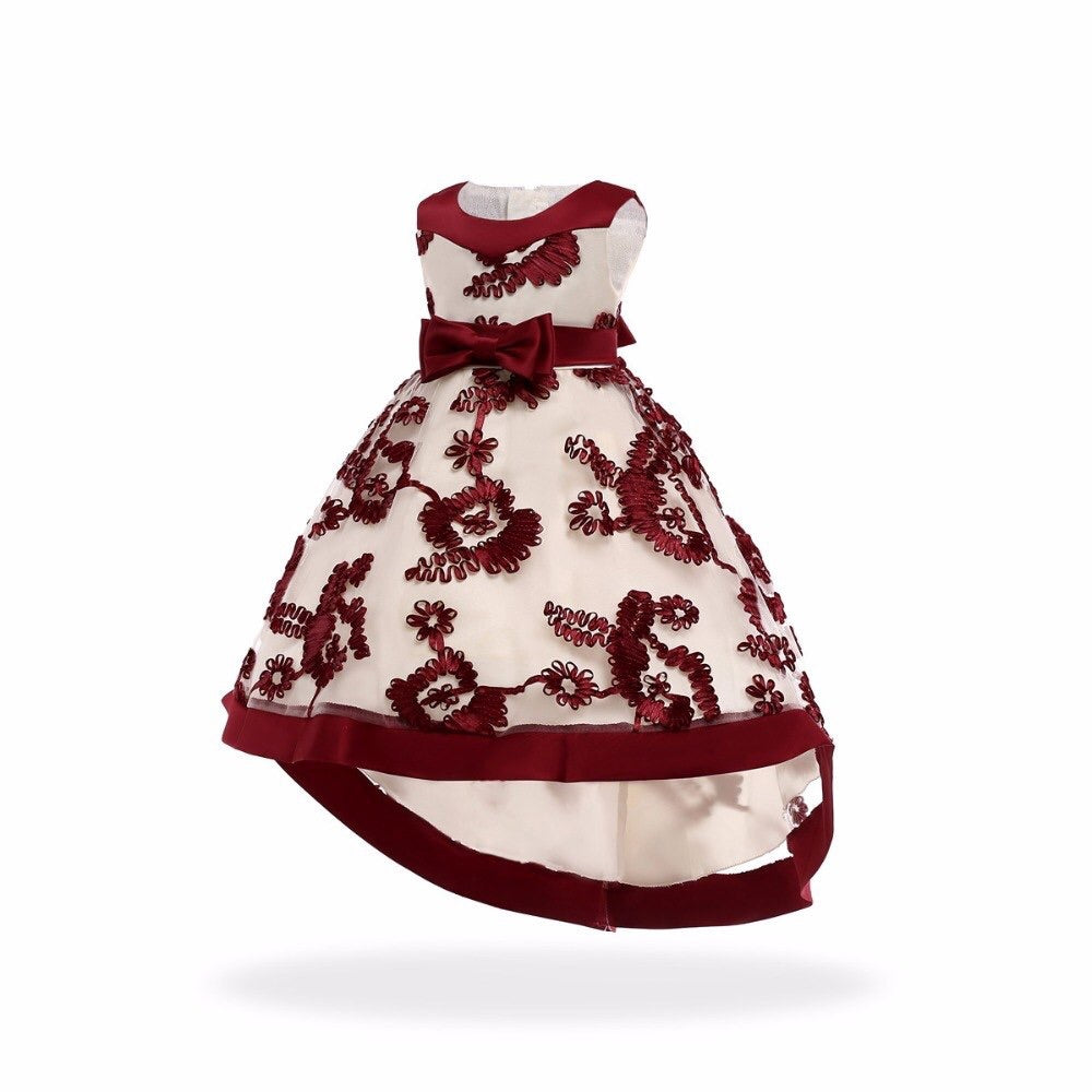 Deep Red Embroidered Dress (3-7 years)