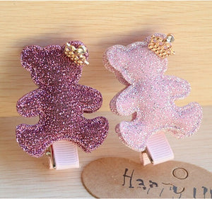 Teddy hair clips set of 2