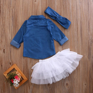 Blue denim 3 piece set (6 months- 4 years)
