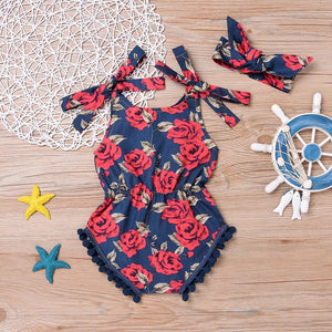 Blue rose pom pom playsuit set (6-24 months)