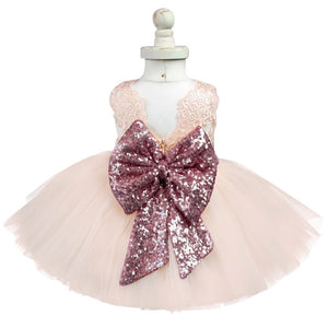 Pink sequin bow tutu dress (12 months - 5 years)