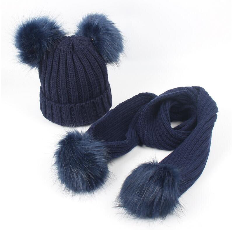Navy blue faux fur pom pom hat and scarf (1-6 years)